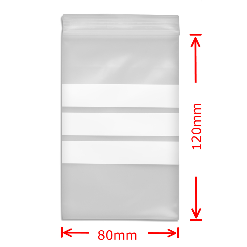 Zip Bags with Notefield 80x120mm; 100 pc.