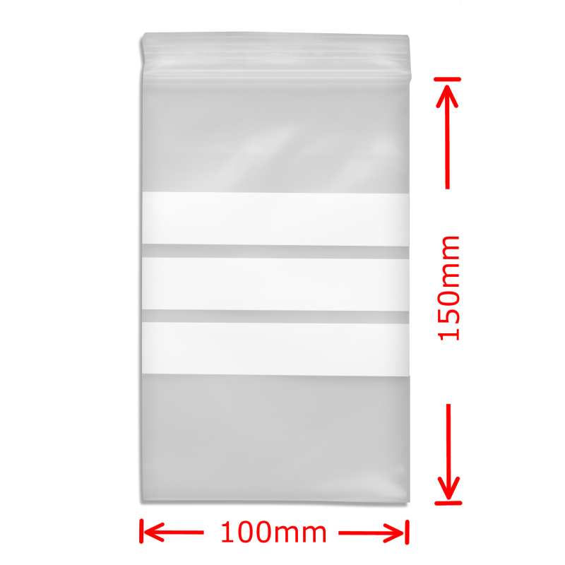 Zip Bags with Notefield 100x15mm; 100 pc.