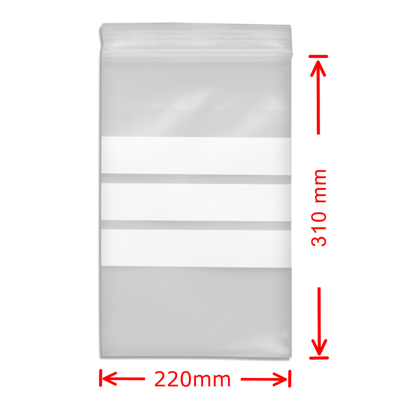 Zip Bags with Notefield 220x31mm; 100 pc.
